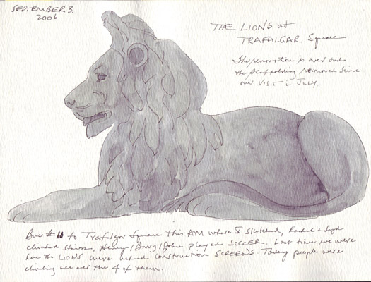 Trafalgar Square Lions Drawing Scanned Have Drawings From